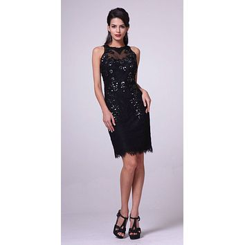Black Lace Halter Sheath Party Dress Illusion Back