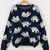 Full Elephant Print  Sweater Top for Women Blue from topsales