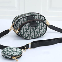 Dior embroidered letters ladies shopping two-piece crossbody bag shoulder bag Green