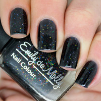 "Nail polish - ""Version 2.0"" rainbow glitter in a black jelly base"