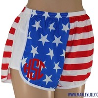 Monogrammed American Flag Running Athletic Shorts   Personalized Gym Wear   Marley Lilly
