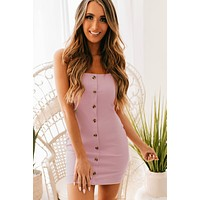 Journey Across The Sky Button Up Bodycon Dress (Sweet Lilac)