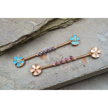 White or Blue Opal Flower Industrial Barbell