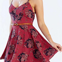 Dark Red Floral Spaghetti Strap Crisscross Back Layered Skater Dress