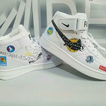 """""""Nike Air Force 1"""" Unisex Casual Fashion Pattern High Help Plate Shoes Couple Sneakers"""