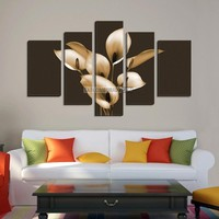 LARGE CANVAS Wall Art - White Flowers on Brown Background Wall Art Canvas Print