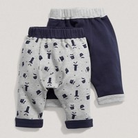Baby Boy Mix And Match Two Pack Of Navy Printed Leggings