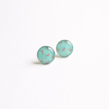 12,5 mm small studs, small stud earring, small, turquoise stud earrings, small earrings, romantic earrings, romantic stud earrings, aqua