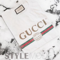 """Gucci""Fashion Women Hot letters print T-shirt top White G"