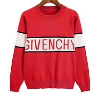 GIVENCHY Stylish Women Color Matching Jacquard Knit Long Sleeve Sweater Top Sweatshirt Red