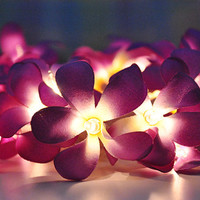 Purple Frangipani flower string lights for Patio,Wedding,Party and Decoration (20 bulbs)