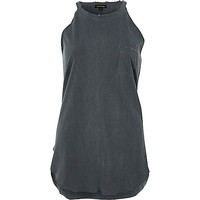 Black wash distressed longline tank top - plain t-shirts / vests - t shirts / vests - tops - women