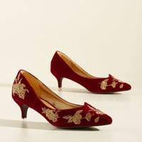 Verified Vogue Velvet Heel in Ruby | Mod Retro Vintage Heels | ModCloth.com