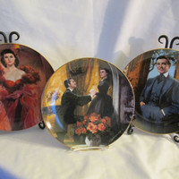Gone with the Wind Golden Anniversary series collectors plates  by W. S. George Fine China 1989, lot of 3