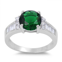 925 Sterling Silver CZ Round Center Simulated Emerald Ring 9MM