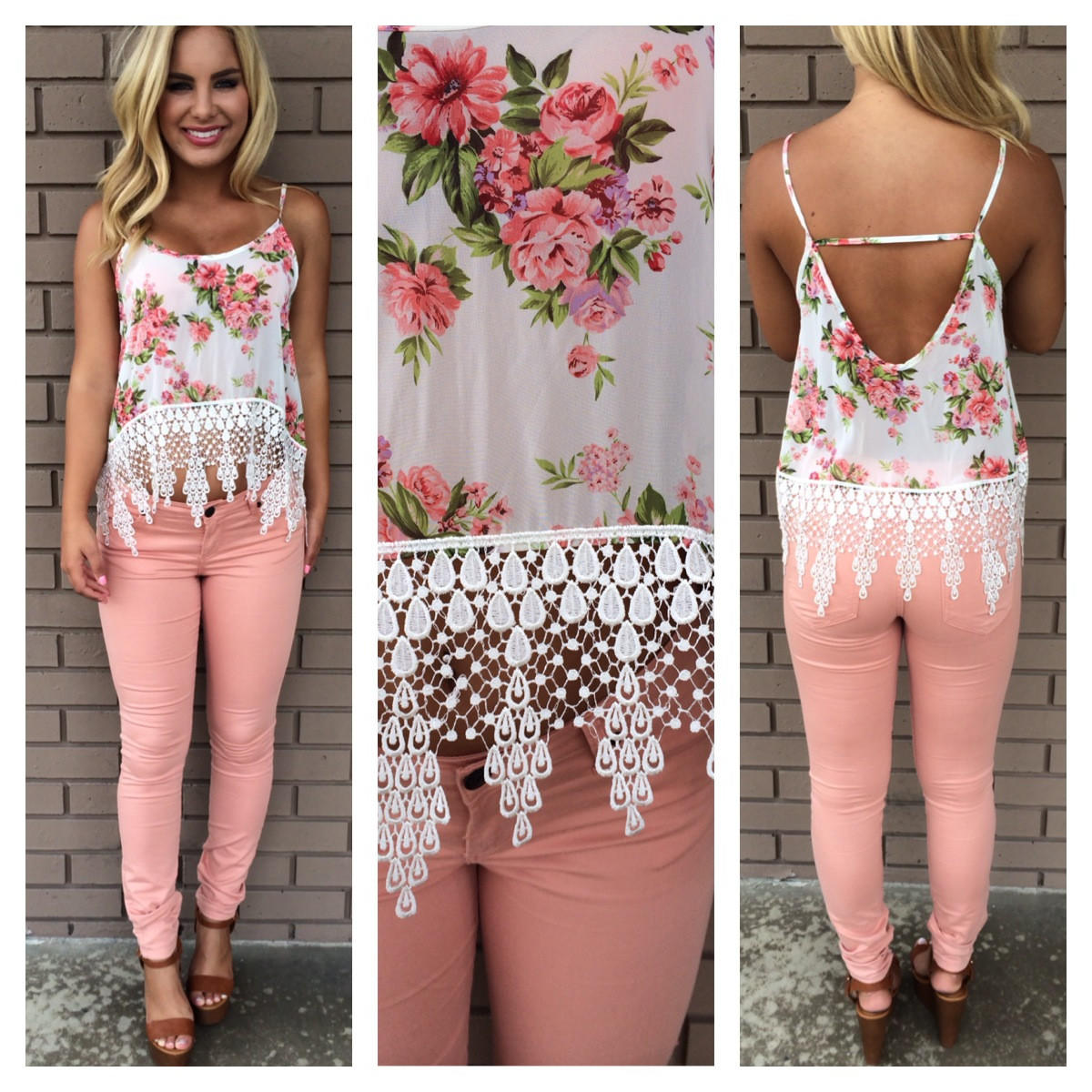Image of Lady Like Floral Crochet Crop Tank - WHITE