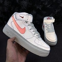 Nike Air Force 1 '07 MID AF1 White Red Reflective Fashion Shoes