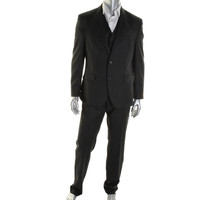 Tallia Mens Wool Striped Two-Button Suit
