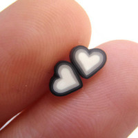 Small Heart Earrings - Tiny Black White and Grey Studs
