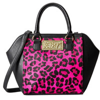 Betsey Johnson Fur-Real Pink Satchel