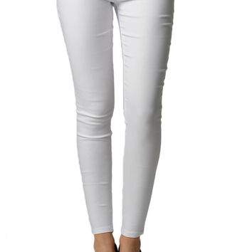 White Stretchy Slim Fit Jegging Pants