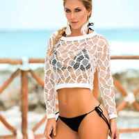 Long Sleeve Lace Crop Top-Swimwear Cover Up