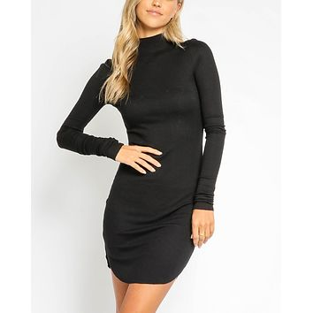 Ryleigh Ribbed Turtleneck Bodycon Dress in Black