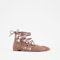 LACE-UP LEATHER BALLERINAS