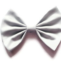 Big Light Grey Hairbow - Upcycled Material - Large Grey Hair Bow Clip