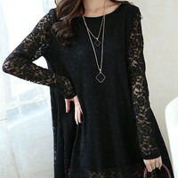 Sheer Lace Long Sleeve Shift Dress