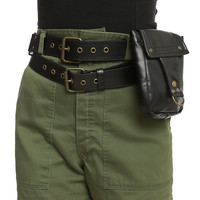 Black Double Belt With Side Bag