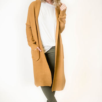 Camel Ribbed Duster Cardigan