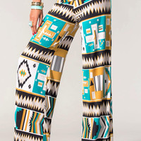 Mustard Tribal Print Wide Leg Pants