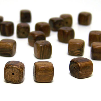 Wood Beads, square 11mm, brown wooden cube, full strand (532R)