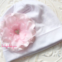 SAVE 15% Newborn Beanie / Baby Beanie / Girls Hat / Infant Beanie / White n Soft Ballet Pink Ruffle Flower Cotton Beanie TWO SIZES Kids Hat