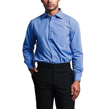 Regular Fit Long Sleeve Dress Shirt - French Blue