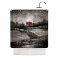 """Viviana Gonzalez """"The Red Sounds And Poems 1"""" Black Tree Shower Curtain"""