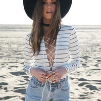 Striped Long Sleeve V-Neck Cross Strap Bodysuit