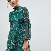 Missguided Floral Print Long Sleeve Skater Dress at asos.com