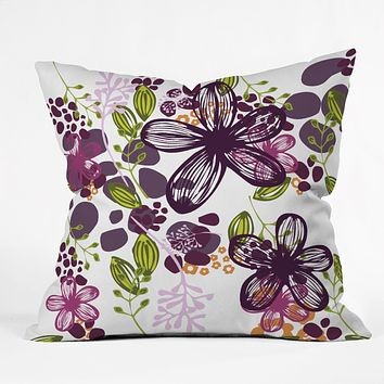 Natalie Baca Floral In Plum Throw Pillow