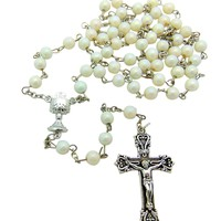 Women, Girls First Communion Catholic White Rosary Chalice Centerpiece, Crucifix Charm 6mm Beads 18 1/2""