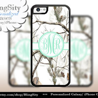 Snow Camo Mint Monogram iPhone 5C 6 Plus Case iPhone 5s 4 Cover Ipod White Realtree Personalized Country Inspired Girl