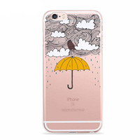 """Stormy Weather Umbrella Whimsical Case for iPhone 6 6s 4.7"""" TPU"""
