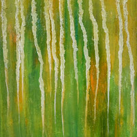 Abstract Original Oil Painting Canvas Art Modern Art Green yellow Art small painting 12""
