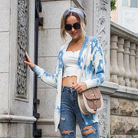 Fashion women's knitted cardigan stained with gradient long sleeve tie-dyed sweater coat