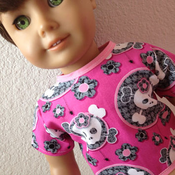 Pink and Gray Flower and Skull doll shirt : fits American Girl and most 18 inch dolls