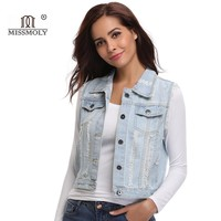 Womens Denim Sleeveless Cotton Jacket Female Ripped Jackets Cowboy Vest 2018 Button up Blue Trend Denim Coats