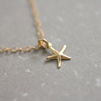 Tiny gold filled starfish necklace - petite charm - dainty everyday jewelry by AmiesAmies