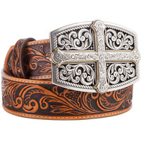Women's Justin Bold Faith Cross Tooled Leather Belt