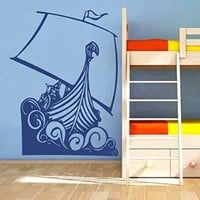 Wall Vinyl Sticker Decal Boat on the Waves Nursery Room Nice Picture Decor Mural Hall Wall Ki698